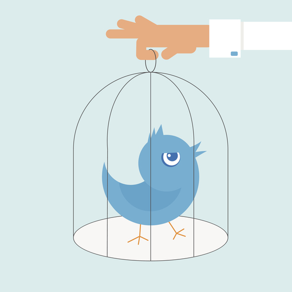 Human hand holds a cage with blue angry bird.