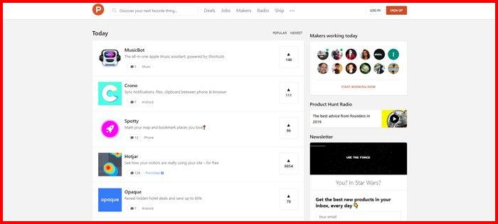 ProductHunt screenshot